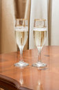 Glasses beautiful wedding champagne are on the table Stock Photos