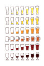 Glasses of beer: empty, half, full. Vector Royalty Free Stock Photo