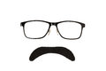 Glasses and black moustache isolated on a white background Royalty Free Stock Image