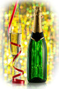 Glasses and bottle of champagne serpentine closeup celebration new year card design with christmas scene Royalty Free Stock Image