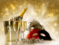 Glasses of champagne against festive background Stock Photo