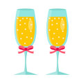 Glasses of champagne icon, flat design. Isolated on white background.