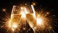 Glasses of champagne with sparklers Royalty Free Stock Photo