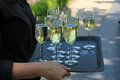 Glasses of champagne on a tray served on a wedding reception Stock Images