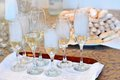 Glasses with champagne wedding on a table Royalty Free Stock Image