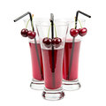 Glasses of cherry juice on white background Royalty Free Stock Photo