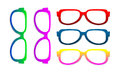 Glasses different sorted by color as colorful background Royalty Free Stock Photography