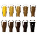 glasses with different varieties of beer Royalty Free Stock Photo