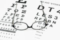 Glasses on eye chart the Stock Images