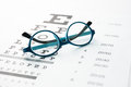 Glasses on eye chart the Royalty Free Stock Images