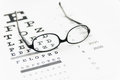 Glasses on eye chart test Royalty Free Stock Photos