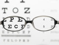 Glasses on eye chart test Royalty Free Stock Photography