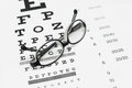 Glasses on eye chart test Royalty Free Stock Images