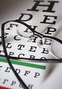 Glasses and eye test chart differential focus Stock Photography