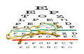 Glasses on eyesight test chart isolated white background Royalty Free Stock Photo