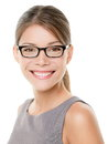 Glasses eyewear business woman happy portrait looking at camera with big smile close up of female model face Royalty Free Stock Photography
