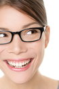 Glasses eyewear spectacles woman looking happy to side with big smile wearing eyeglasses close up portrait of female model face Stock Photo