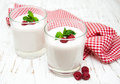Glasses with fruit yogurt Royalty Free Stock Photo