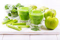 Glasses Of  Green Juice With A...