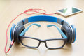 Glasses and headphone Royalty Free Stock Photo