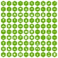 100 glasses icons hexagon green