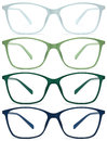 Glasses isolated on white green blue color background Stock Photography