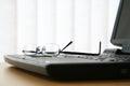 Glasses on Laptop Keyboard Royalty Free Stock Photo
