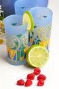 Glasses of lemonade and raspberries Stock Photography
