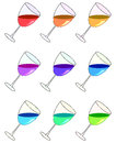 Glasses with liquids of different colors. Raster Royalty Free Stock Photo