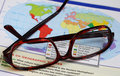 Glasses on map Royalty Free Stock Photo