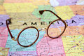 Glasses on a map of USA - Arkansas Royalty Free Stock Photo