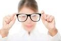 Glasses - optician showing eyewear Royalty Free Stock Photo