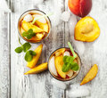 Glasses of peach iced tea top view Royalty Free Stock Photography