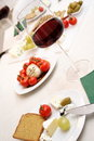 Glasses of red wine with appetiser Stock Photo