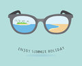 Glasses reflection enjoy summer holiday illustration design eps Royalty Free Stock Photos