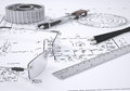 Glasses ruler compass pencil and gear lie on the drawing d render Stock Photos