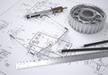 Glasses ruler compass pencil and gear lie on the drawing d render Royalty Free Stock Images