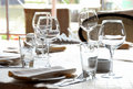 Glasses served on table in restaurant Royalty Free Stock Photo