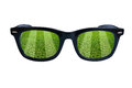 Glasses soccer field Royalty Free Stock Photography