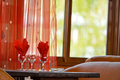 Glasses on a table with red napkins Royalty Free Stock Photo
