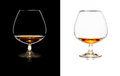 Glasses of whiskey over black and white isolated