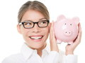 Glasses woman saving on eyewear showing piggy bank smiling happy young casual professional business holding savings from Stock Image