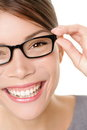 Glasses woman showing eyewear Royalty Free Stock Photo