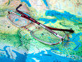 Glasses world Map Stock Photos