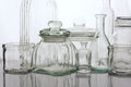 Glassware collection of empty various on light background Royalty Free Stock Image
