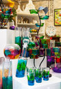 Glassware colorful ornamental decorative in shop window Royalty Free Stock Photos