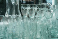 Glassware on the store window under natural daylight Stock Photo