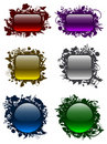 Glassy buttons in floral frames (set 1) Stock Photo