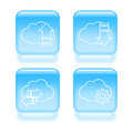Glassy cloud icons set of vector illustration Royalty Free Stock Photo