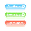 Glassy continue buttons set of colorful vector illustration Stock Image